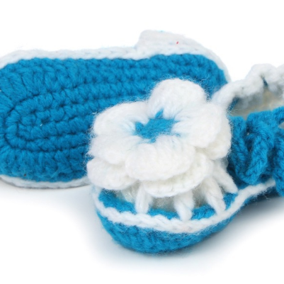 Hand-woven baby shoes Plum flower i..