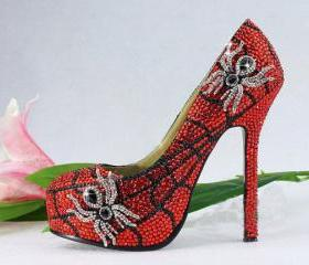Handmade Glitter Red Crystal Bridal Shoes Bling Rhinestone Party Prom Shoes Luxury Spider Shoes Platforms Wedding Pumps
