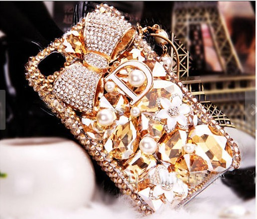 Luxury flowers gem diamond bow Hard Back Mobile phone Case Cover Rhinestone Case Cover for iPhone 4 4s 5 7plus 5s 6 6 plus Samsung galaxy s7 s4 s5 s6 note8.0 10 4