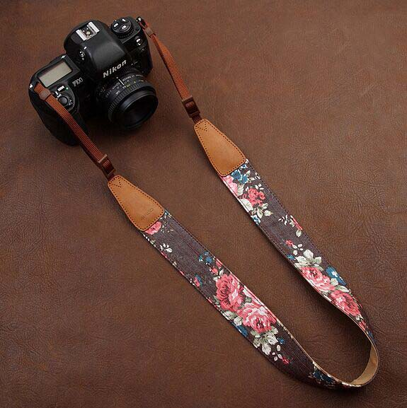 Brown jeans printing comfortable camera strap Neck Strap elastic carrying a classic for canon nikon sony