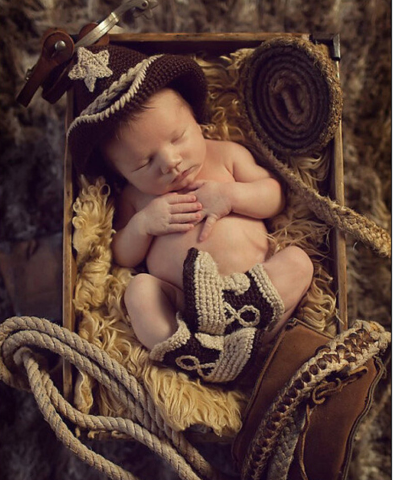Cowboy hats suit Hand knitted wool clothes photo prop one hundred days newborn baby photography Gray baby clothes joker pictures clothes