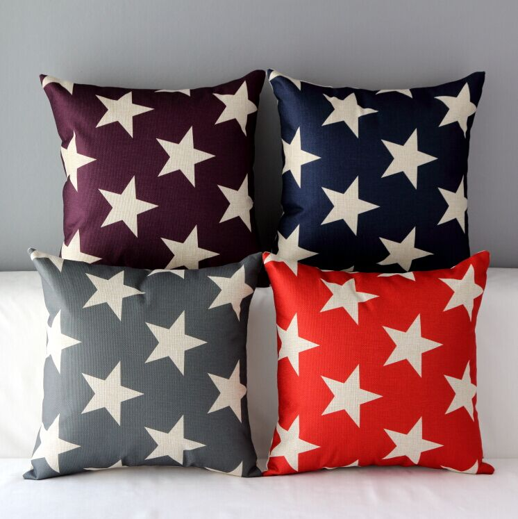 High Quality 4 pcs a set Five-pointed star Cotton Linen Home Accesorries soft Comfortable Pillow Cover Cushion Cover 45cmx45cm