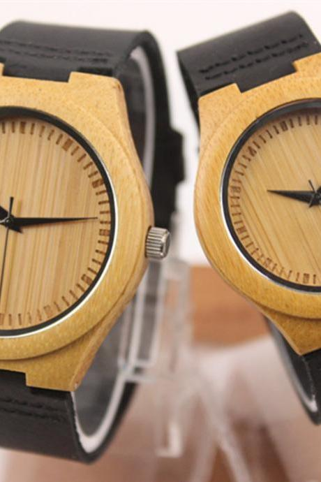 Fashion lovers bamboo table really belt watch simple couple watches
