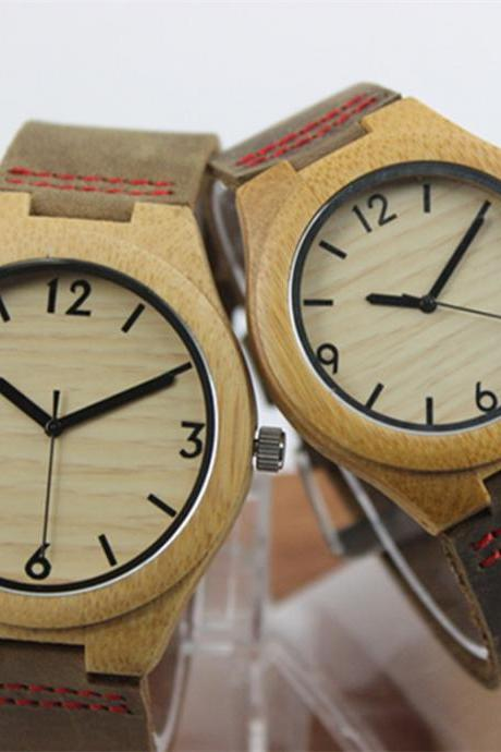Wooden bamboo watch digital big dial genuine leather belt watches couple tables