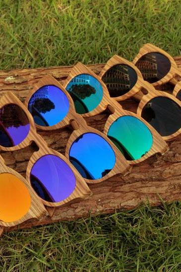 New handmade zebra wood sunglasses bamboo elliptic polarized sunglasses coating
