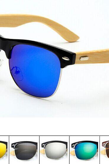PC half frame metal nose bridge glasses bamboo leg sunglasses UV400 retro glasses