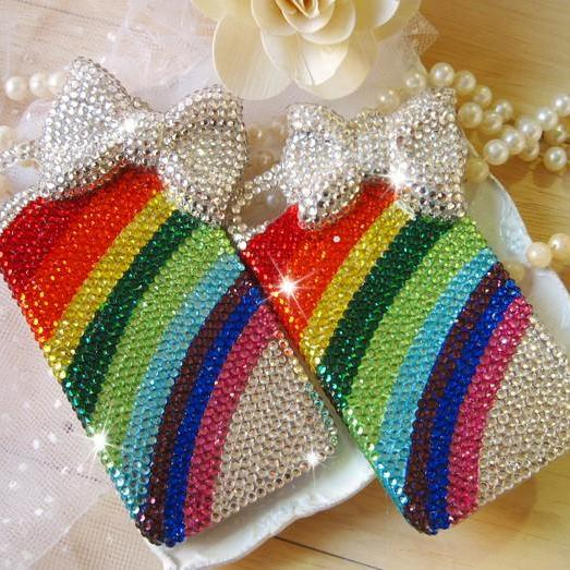 Rainbow diamond white bow Hard Back Mobile phone Case Cover Rhinestone Case Cover for iphone 6s case,iphone 6s plus case,iphone 6c case,iphone 5case,iphone5scase,iphone7plus case,iphone 6 case,iphone 6plus case,samsung galaxy s4 case,samsung galaxy s5case,samsung galaxy s6 case,samsung galaxy s6 edge case,samsung galaxy note8.0 case,samsung galaxy note4 case,samsung galaxy note5 case.