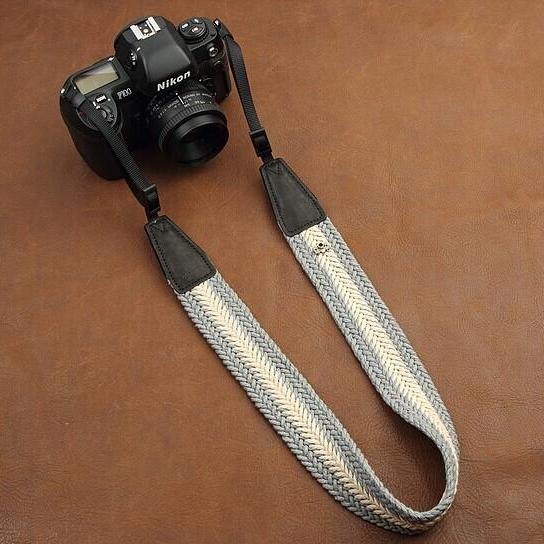 Gray beige High Quality plait comfortable camera strap Neck Strap elastic carrying a classic for canon nikon sony