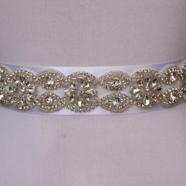 Bridal Sash Handmade Crystals Beads Gorgeous Exquisite White Wedding Accessories Bride Belt Sash