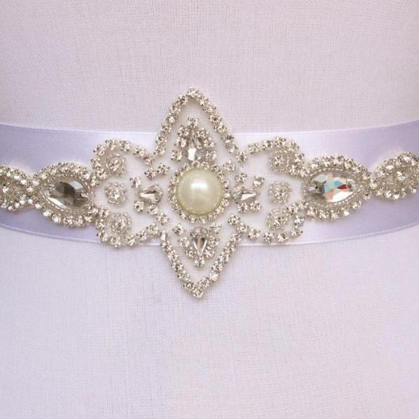 Shinning Bridal Sash pearl And Rhinestone Bridal Waist Belt Beaded Wedding Accessories