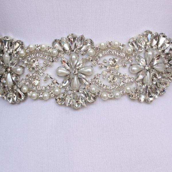 Bling floral Bridal Sash pearl And Rhinestone Bridal Waist Belt Beaded Wedding Accessories