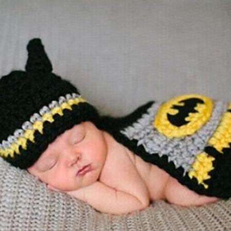 Batman Hand knitted wool clothes photo prop one hundred days newborn baby photography baby clothes joker pictures clothes