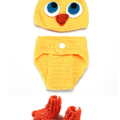 Ducklings three-piece Hand knitted wool clothes photo prop one hundred days newborn baby photography baby clothes joker pictures clothes