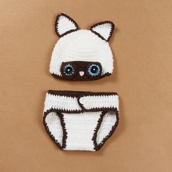 White fox Hand knitted wool clothes photo prop one hundred days newborn baby photography baby clothes joker pictures clothes