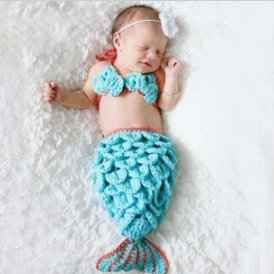 Blue Three-piece mermaid Hand knitted wool clothes photo prop one hundred days newborn baby photography baby clothes joker pictures clothes