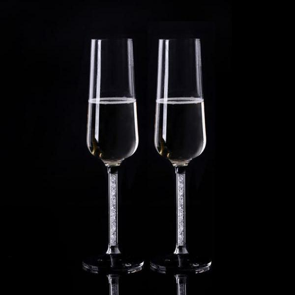 Crystal champagne flutes a pair with crystal base and moving crystal stem 26cm height red wine toasting glass