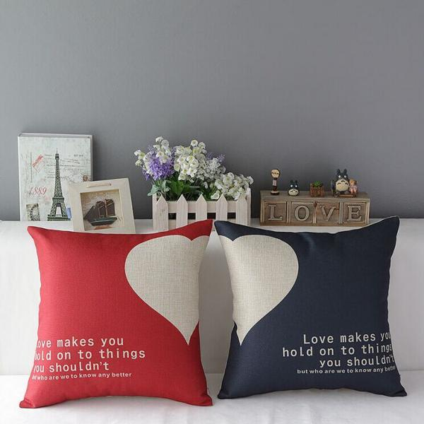 High Quality 2 pcs a set heart Cotton Linen Home Accesorries soft Comfortable Pillow Cover Cushion Cover 45cmx45cm