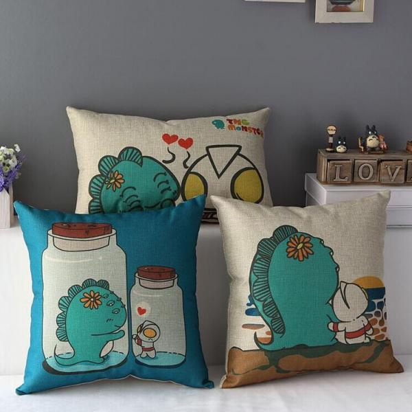 High Quality 3 pcs a set Altman and little monster Cotton Linen Home Accesorries soft Comfortable Pillow Cover Cushion Cover 45cmx45cm