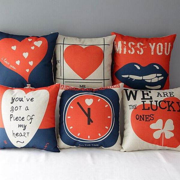 High Quality 6 pcs a set Red and blue heart Printed Cotton Linen Home Accesorries soft Comfortable Pillow Cover Cushion Cover 45cmx45cm