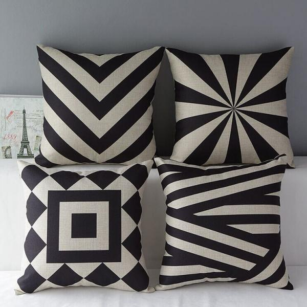 High Quality 4 pcs a set Geometric patterns Cotton Linen Home Accesorries soft Comfortable Pillow Cover Cushion Cover 45cmx45cm
