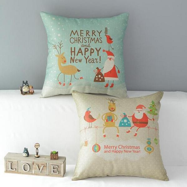 High Quality 2 pcs a set Christmas Cotton Linen Home Accesorries soft Comfortable Pillow Cover Cushion Cover 45cmx45cm