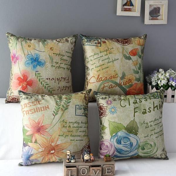 High Quality 4 pcs a set Hand-painted flowers Cotton Linen Home Accesorries soft Comfortable Pillow Cover Cushion Cover 45cmx45cm