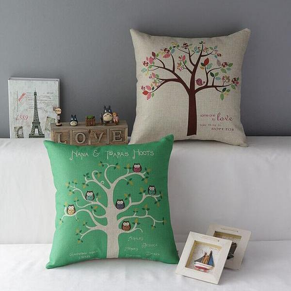 High Quality 2 pcs a set trees Cotton Linen Home Accesorries soft Comfortable Pillow Cover Cushion Cover 45cmx45cm
