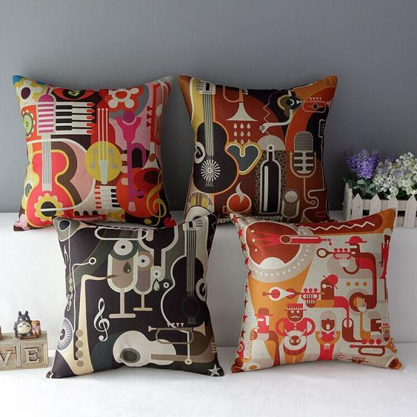 High Quality 4 pcs a set music Cotton Linen Home Accesorries soft Comfortable Pillow Cover Cushion Cover 45cmx45cm