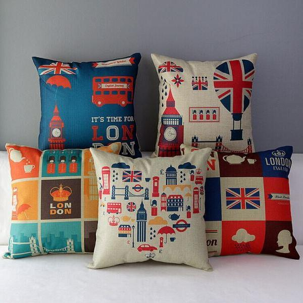 High Quality 5 pcs a set British style Printed Cotton Linen Home Accesorries soft Comfortable Pillow Cover Cushion Cover 45cmx45cm