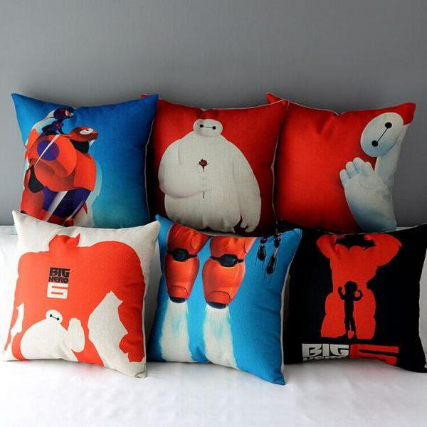High Quality 6 pcs a set Big hero Printed Cotton Linen Home Accesorries soft Comfortable Pillow Cover Cushion Cover 45cmx45cm