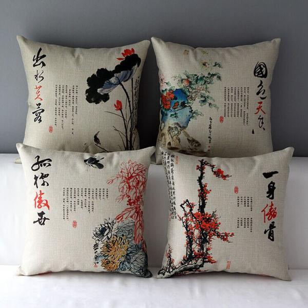 High Quality 4 pcs a set Chinese style Cotton Linen Home Accesorries soft Comfortable Pillow Cover Cushion Cover 45cmx45cm
